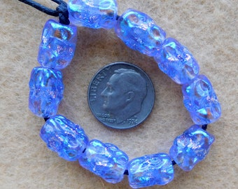 10 Lilac Blue and Pink Rose Dichroic Mini ripple Lampwork Beads  by Dee Howl Beads