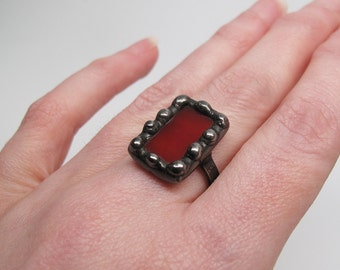 Berry Patch - Sterling Silver Stained Glass Ring - Size 8