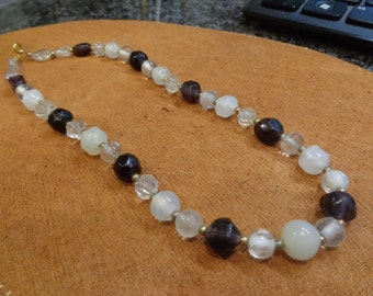 Purple and white beaded glass necklace