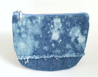 UPCYCLED Denim Pouch. Recycled Denim Change Purse. Leather Coin Purse. Galaxy Jean Pouch. Bleached Denim. Frayed Denim. Ready To Ship.