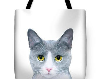 Tote Bag All over print Cat 611 grey gray cat by L.Dumas Artbylucie Totes