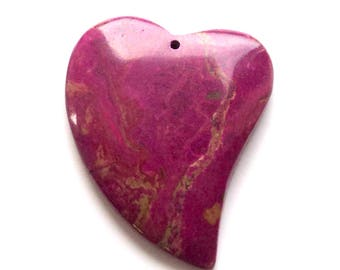 1 Beautiful Fuchsia Heart Pendant, 44x58mm, Turquoise Stone Pendant, Jewelry Supplies