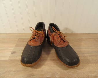 Authentic LL Bean Rubber and leather slip on ankle high duck shoes-Mens size 10- good condition