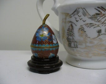 Little Red Cloisonne Pear Box with Display Stand