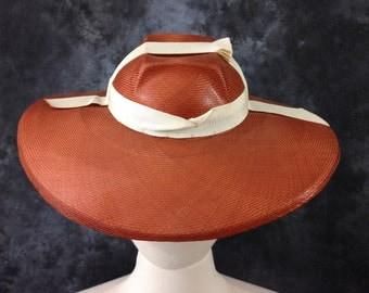 Vintage 1930's Austelle pumpkin straw art deco wide brimmed hat