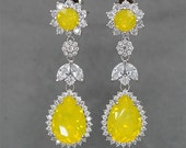 Chandelier Earrings Yellow Opal Earrings Bridal Earrings Yellow Crystal Earrings Swarovski Rhinestone Jewelry for Brides, Bridesmaid Gift