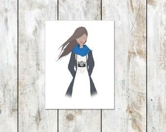 Portrait Stationery - Cotton Stationery - Camera Girl - Photographer Stationery - Trendy Style