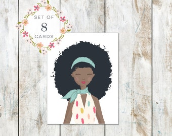 Set of 8 Portrait Stationery - Cotton Stationery - 1960s Girl - Big Hair Don't Care Stationery - Trendy Style
