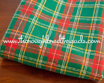 Mad About Plaid - Vintage Fabric Multi-Colored Checked Preppy Red Green Tartan Holiday Christmas