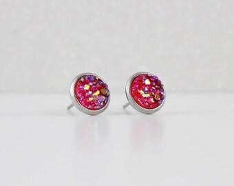 Strawberry Red Druzy Crystal Earrings | ATL-E-198