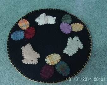 Penny Rug Candle Mat Spring/Easter Bunnies and Colored Eggs