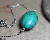 Turquoise Necklace Sterling Silver Big Turquoise Gemstone Bead Choker Luxe Boho Rustic Jewelry