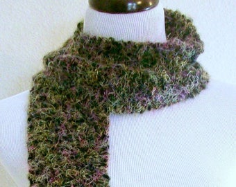 Black and Multi-Colored Knit Scarf