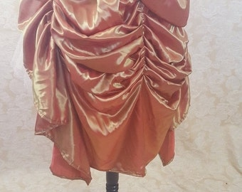New Year Sale BLACK FRIDAY SALE Gold Orange Shot Midi Length Tie Bustle Skirt-One Size Fits All