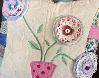 "Recycled Vintage Quilt TopPillow . . . Appliqué  VASE . . . Quilt FLOWERS . . . 14"" Decorative Pillow"