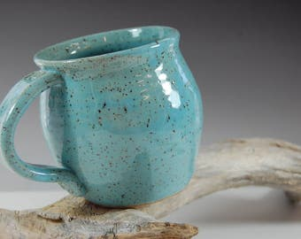 Large Pottery Mug , Perfect For The Beach,Stamped Handles Serving, Turquoise Glaze