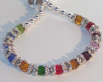 Swarovski Crystal Jewelry -  - Mother or Grandmother Bragging Bracelet - 8-15 Birthstones