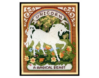 Vintage Unicorn Needlepoint KIT Picture to Embroider Magical Beast Tapestry Rainbow Flowers Mythical Fantasy 11 X 14 1980s Sunset Stitchery