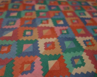 Southwestern Quilt Fabric, .75 Yd + Lightweight Polyester Woven Fabric in Pink, Blue, Green, Orange Western Print, VIP Cranston Print Works