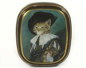 Vintage Small Cat Tin, Bentley's of London, The Cat Gallery, The Laughing Cavalier, circa 1990