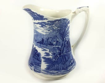 """Vintage Blue and White """"Tintern""""  Pitcher, by Alfred Meakin, Made in England"""
