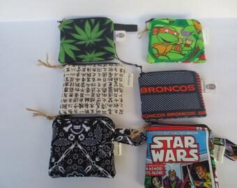 Coin Purses - Star Wars - Cannabis - Ninja Turtles - Broncos - Gift - Zip Coin Purses