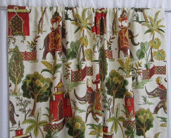 "Green Red Curtains, Elephant Window Curtains, Boho Curtains, Bohemian Home Decor, Red Green Trendy Curtains, Rod-Pocket, One Pair 50""W"