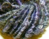 Handspun Corespun Soft Gotland Wool Textured Art Yarn in Natural Black with Lilac by KnoxFarmFiber for Knit Weave Embellishment