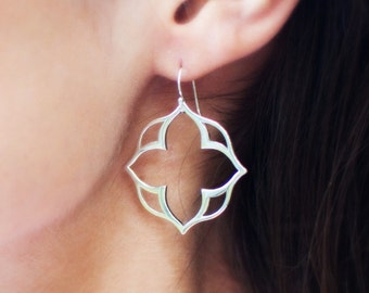 Sterling silver stylized clover design earrings, lotus earrings, clover style, statement earrings, modern earrings