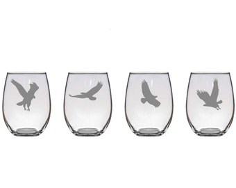 Set of 2 or 4 Eagle Wine Glasses,4 Poses,Custom Etched Eagle Glassware,Eagle Bar ware,Eagle Lover Gift,Etched Wild Bird Wine Glasses,Eagles