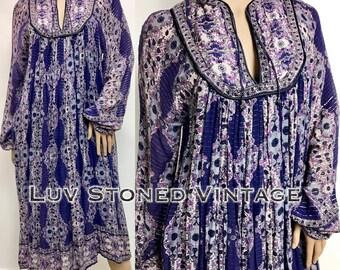 Vtg 70s Oh Calcutta Indian Cotton Metallic Boho Hippie Gauze Gypsy Festival Midi Dress with Belt  D049 . SM . 1245.1.20.17