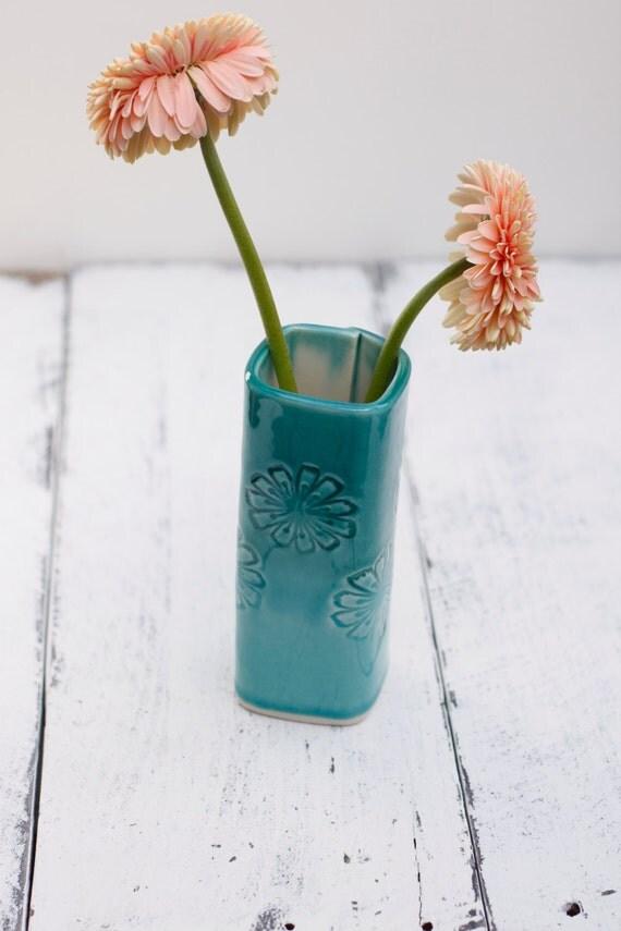 aqua porcelain vase