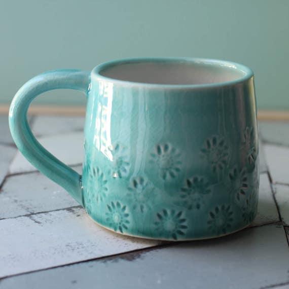 aqua and teal mug, porcelain