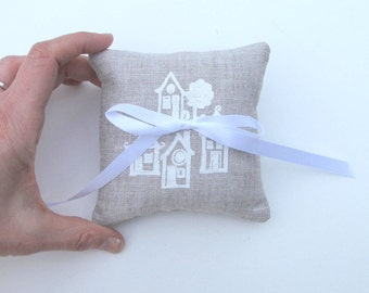Ring Bearer Pillow, Wedding decor, Tiny Houses, 4 x 4 inches - Choose your fabric and ink color