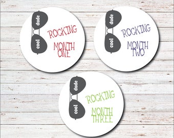 Monthly Baby Stickers, Milestone Stickers, Month to Month, Onesie Sticker, Monthly Labels, Baby Boy, Baby Shower Gift, Boy, Sunglasses, Cool