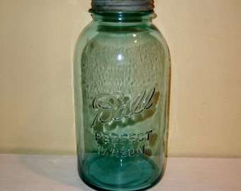 Prim STORAGE JAR Blue Glass Ball Mason Zinc Cover Lid No. 5 Old Vintage Country