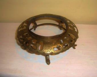 Antique Brass Base Vase Lamp Urn pierced etched engraved footed