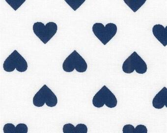 211390 white Robert Kaufman navy blue heart fabric Sevenberry Classiques