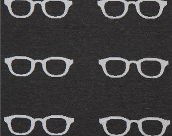 213084 black with light grey glasses Jacquard echino fabric