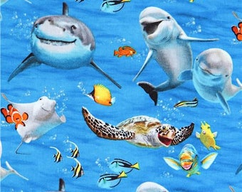215095 blue with funny dolphin shark fish Ocean Selfie fabric by Elizabeth's Studio