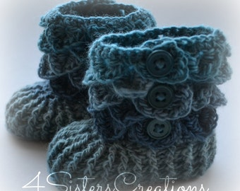 Crocodile Stitch 'Weather Vane' - Mix of Blues  Booties  Newborn - 6 Month Crochet Boots - Finished, Complete, Made and Ready to go