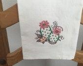 CACTUS ----  HEDGEHOG  Cactus. Machine embroidered Flour Sack/Tea Towel
