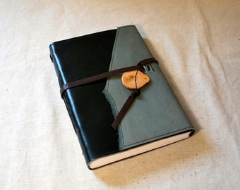 Sea Green Leather Journal with Recycled Paper-Large