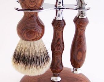 Honduras Rosewood 24mm Super Silvertip Shaving Brush and Fusion Flexball Razor Gift Set (Handmade in USA)  R1  Anniversary Gift - Men's Gift