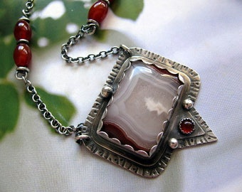 Sterling Silver Pendant Necklace, Agua Nueva Agate Pendant, Handmade Sterling Silver Jewelry