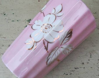 Pretty Edwardian Pink Lusterware Bone China Mug/Beaker - Gold & White Flowers - 1910's