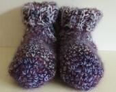 Adult Slipper Socks, Heather Blue, hand crochet, fluffy slippers, thick socks, women, girls, boys, men, unisex slippers for all family