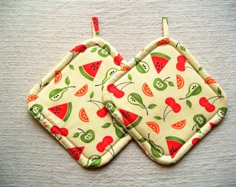Fruit, Insulated Pot Holders, Set of 2, Hot Pad, Trivet, Potholder, For the Kitchen, For the Cook