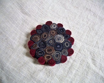 Standing Wool Pincushion or Trivet, Recycled Wool, Upcycled Wool, Red and Blue
