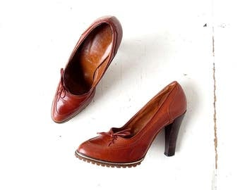 Vintage 70s Heels | Brown Leather | High Heels | Size 6 1/2